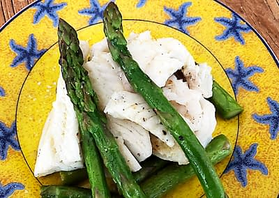 FISH with ASPARAGUS in SAGE INFUSED BUTTER