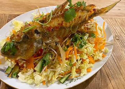 Salt & Pepper Crispy Skin Whole Bream with Tangy Sweet Chilli Sauce